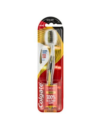 Colgate Slim Soft Advanced Charcoal with Charcoal infused bristles Ultra Soft Toothbrush