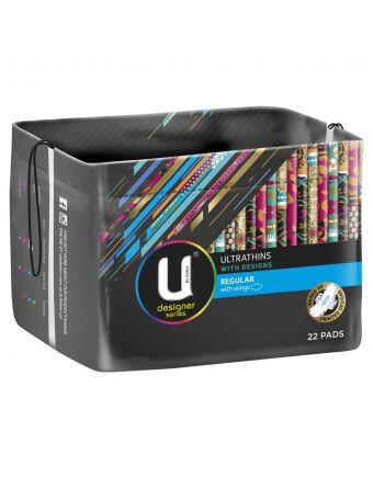 U by Kotex Regular Designer Series Ultrathins With Wings, 22 Pads