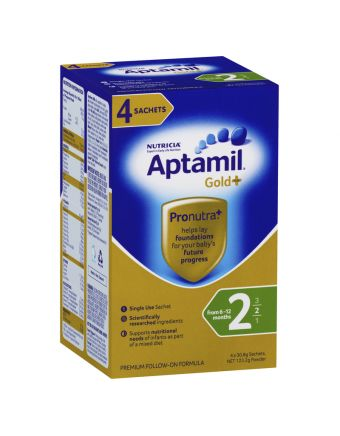 Aptamil Gold+ 2 Baby Follow-On Formula Powder Sachets From 6-12 Months 4 Pack 30.8g