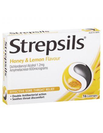 Strepsils Sore Throat Relief Honey & Lemon 16 Pack