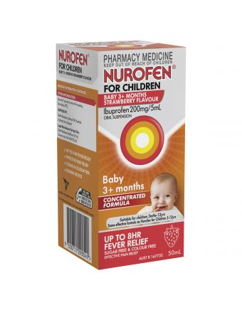 Nurofen for Children Baby 3+ Months Pain and Fever Relief Concentrated Liquid 200mg/5ml Ibuprofen Strawberry 50mL