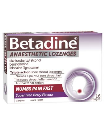 Betadine Anaesthetic Berry 16 Pack