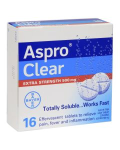 ASPRO CLEAR EXTRA STRENGTH 500MG TAB 16