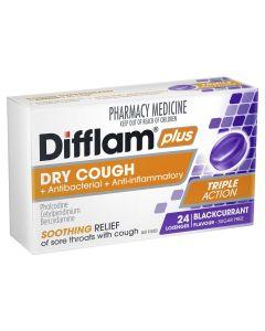 Difflam Plus Sore Throat Lozenge Plus Dry Cough Relief - Blackcurrant
