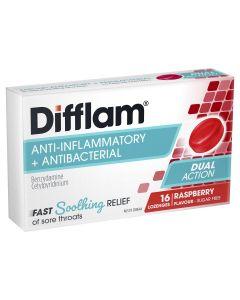 Difflam Sore Throat Lozenges Raspberry Flavour 16s