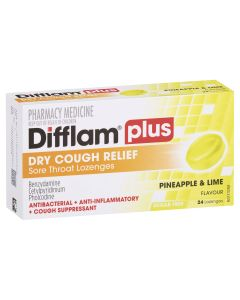 Difflam Plus Sore Throat Lozenge Plus Dry Cough Relief - Pineapple & Lime
