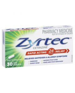 ZYRTEC 10MG TABLETS 30