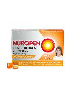 NUROFEN CHILD 7+ ORANGE CHEWABLE CAP 12