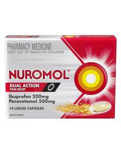 NUROMOL DUAL ACTION LIQUID CAPSULES 10S