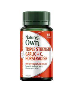 Nature's Own Triple Strength Garlic + C, Horseradish Tablets 60