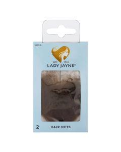 Lady Jayne Hair Net, Mid Brown, Pack 2